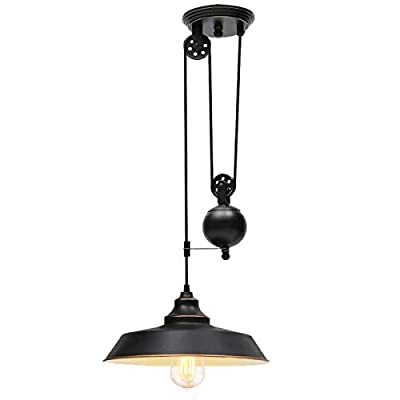 Ganeed Pulley Pendant Light,Adjustable Height Industrial Pulley Lighting,Rustic Ceiling Hanging Light Edison Island Lamp for Farmhouse Dinner Room Kitchen Hallway,Black,E26 Bulb Socket