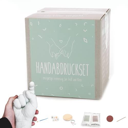 Handabdruck Set für Paare oder die Familie 👨👨👧👧 All-in-one 3D Handabformset aus Gips für Erwachsene und Kinder [inkl. Farben, 450 Gramm Alginat, 1200 Gramm Gips & mehr]praxy