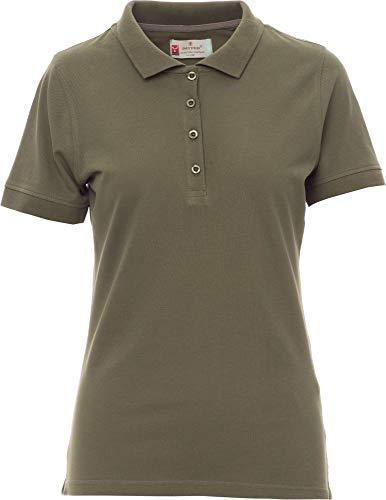PAYPER Venice - Polo de manga corta para mujer (algodón, 4 botones) Verde militar. S