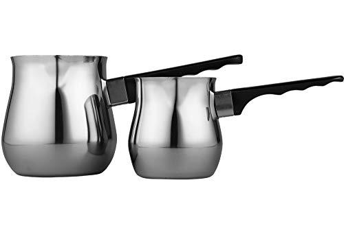 Bavary | 2-er | Mokkakannen | Kaffeekannen | Espressokannen | Mokkakocher | Kaffeekocher | Mokka-Set | Edelstahl | Türkischer Kaffee | Cezve | Schwarz | Silber
