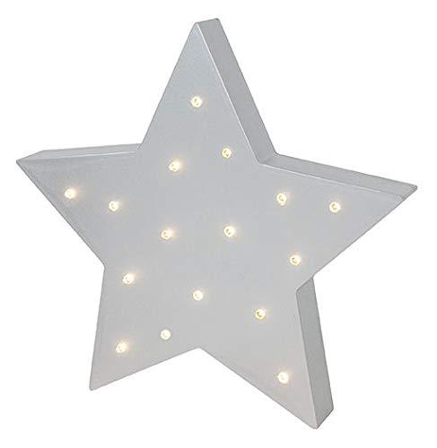 JaBaDaBaDo R16037 LED Lampe Stern Standlicht/Wandlampe silber grau