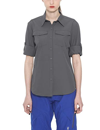 Little Donkey Andy Women's Stretch Quick Dry Water Resistant Outdoor Shirts UPF50+ for Hiking, Travel, Camping Grey Size M