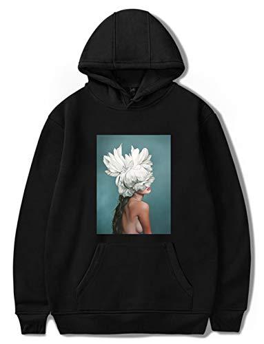 SIMYJOY Instagram Harajuku Ästhetik Kapuzenpullover Sexy Blume&Damen Druck Hoodie Fashion Casual Langarm Sweatshirt Schwarz XL