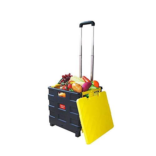 KKmoon Opvouwbare boodschappentrolley voor winkelwagen, 2 wielen, inklapbaar, met deksel voor winkelwagen, draagbaar Black & Yellow