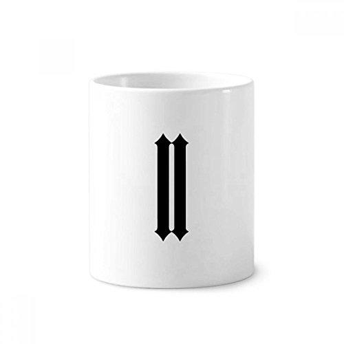 DIYthinker Romeinse cijfers Twee In Zwart silhouet Keramische Tandenborstel Pen Houder Mok Wit Cup 350ml Gift 9,6 cm hoog x 8,2 cm diameter