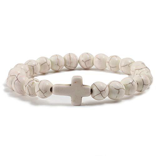 Natural Stone Cross Dumbbell Claw Beads Bracelet for Women Men Prayer Adjustable Couple Bracelets Religious Jewelry Gift-cross2