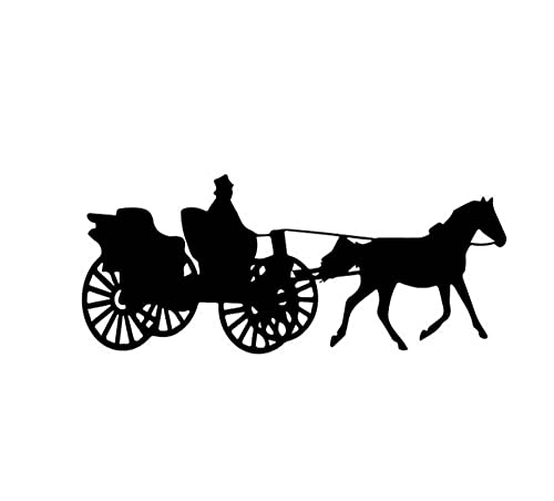 MDGCYDR Car Sticker 16CM*6.8CM Shadow Of Ancient Carriage With Big Wheel Horse Nice Decor Car Sticker Black/Silver