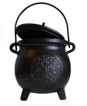"""AzureGreen Home Fragrance Potpourris Cauldrons Tree of Life Cast Iron Three Legged with Handle and Lid Large 8"""""""