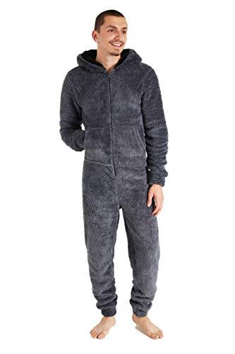 CityComfort Herren Overall Jumpsuit, One Piece Anzug Fleece Onesie Herren Flauschig Einteiler Schlafanzug Herren und Teenager Jungen M-XL, Geschenke für Männer (L, Grau)