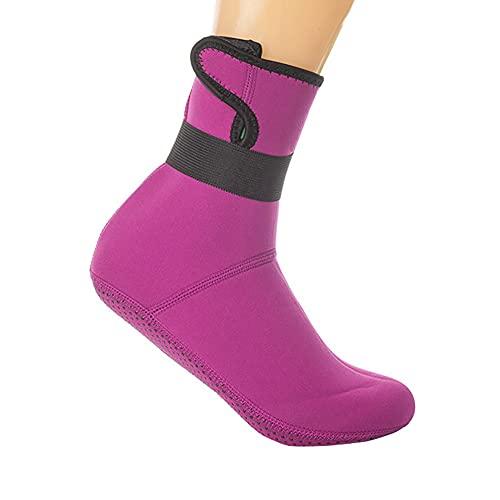 QAOSHOP Calcetines de buceo de neopreno para hombre y mujer, para niños, térmicos, antideslizantes, elásticos, con aleta de agua, calcetines de buceo, calcetines largos de agua, color rosa, S