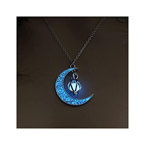 HEMOTONE Vintage Mond Leuchtende Glühende Mondstein Edelstein Charm Halskette Dame Mädchen Halloween Schmuck Geschenk (Metal Color : Type 2 Blue)