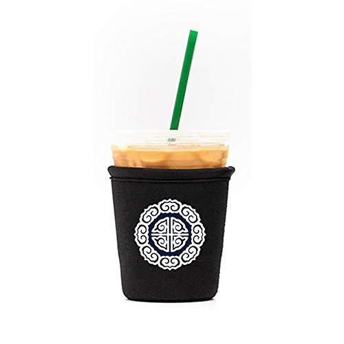 ZOLREN Wiederverwendbare Isolierhülle für Eiskaffeetassen, für kalte Getränke und Neopren-Halterung für Starbucks Kaffee, McDonalds, Dunkin Donuts (Averheißungsvolle Wolken, klein 473 - 510 ml)