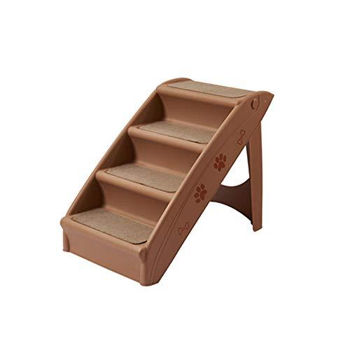 AMELIA Escaleras Plegables para Mascotas Pequeños Gatos y Perros Escalada Escalada Escalada Escalera de Escalera sin Deslizamiento Plastic Plástico, Estera Antideslizante Gratis (Gris Claro, marrón)
