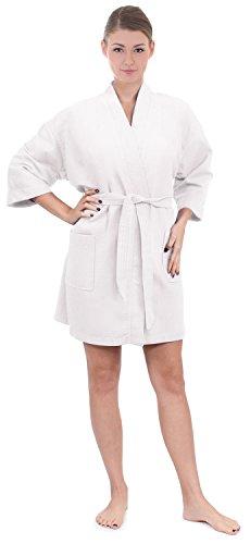 Women's Knee Length Waffle Weave Kimono Bathrobe (Small/Medium, White)