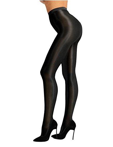 TiaoBug Damen Strumpfhose 70 Den Glossy Glänzende Hose Pants Leggings Tights Modisch Matt mit Glanz Fein Strumpfhosen Schwarz One Size