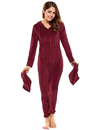 Unibelle Damen Jumpsuit Onesie Overall Pyjama Schlafanzug Einteiler Trainingsanzug Weihnachten Xmas Ganzkörperanzug Mit Kapuzen Rot S