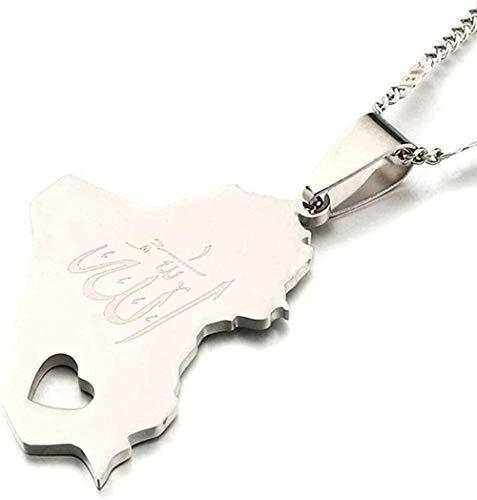 huangxuanchen co.,ltd Collar Collar de Acero Inoxidable con Colgante de Mapa de la República de Irak Color Dorado Nombre de Alá Corazón de Alá Joyería