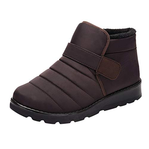 Women Winter Warm Snow Boots Ladies Plus Velvet Waterproof Non-Slip Cotton Bootie Ankle Boots (Brown, 9-Women-US)