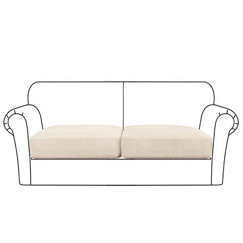High Stretch Seat Cushion Cover Sofa Cushion Furniture Protector fot Sofa Seat Sofa Slipcover Sofa Cover Soft Flexibility with Elastic Bottom (2 Pieces Cushion Covers, Biscotti Beige)