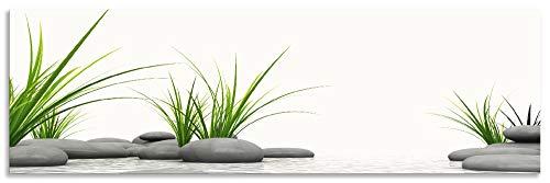 Artland Spritzschutz Küche aus Alu für Herd Spüle 180x55 cm Küchenrückwand mit Motiv Natur Zen Wellness Spa Yoga Asien Gräser Stein Weiß T6CD