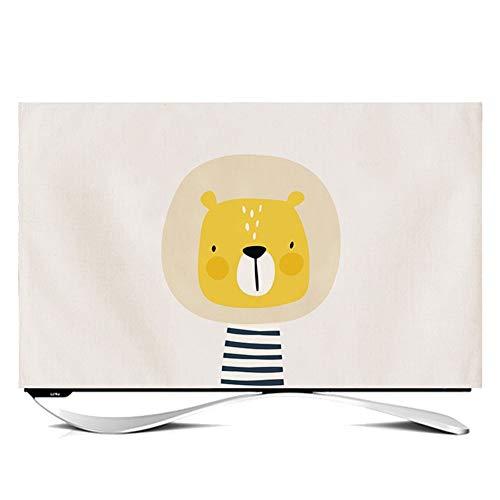 TINGTING Tv Abdeckung Cartoon Tier Nordisches Fernsehen Anzeige Staubschutz Monitorabdeckungen (Color : Lion, Size : 27 inches)