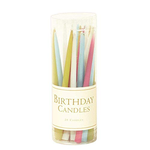 Caspari - 3-Inch Birthday Candle Sticks Dripless, Smokeless, Unscented Candles, Pastels, Set of 20