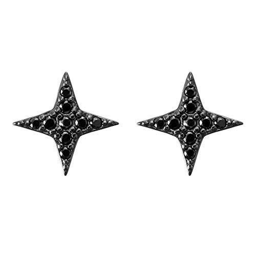 Flechazo 1 Pair Silver/ Black/ Gold Stud Earrings Sterling Silver 925 for Women Girls CZ Four-Pointed Star Earrings Helix Tragus Cartilage Tiny Ear Studs Ear Bars