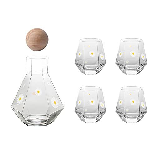 Jarra de vidrio geométrico con tapón de corcho para agua fría para frigorífico, zumo casero y té helado (color A: A)