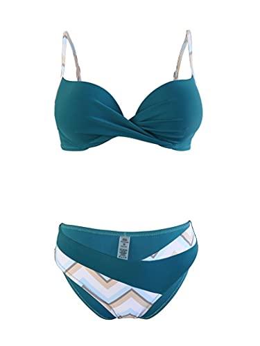ZZNVS Traje de baño de Bikini para Mujer, Color Femenino a Juego de Mujeres wiMsuit.Traje de baño de Playa Europea y Americana.Bikini de Verano de Dos Piezas (Color: Verde, Azul)