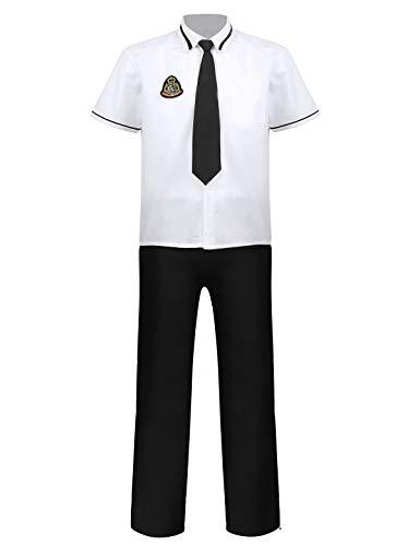 Freebily Uniforme Scolaire Garçon Homme Japonais Costume Anime Adulte Déguisement Écolière Cosplay Etudiant Homme College Marin Uniforme Halloween Carnaval Blanc&Noir Large