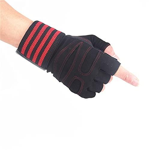 Guantes de Levantamiento de Pesas con Soporte para la muñeca para Ejercicios Pesados Body Building Gym Training Fitness Handschuhe Workout Gloves-Red gloves-2-XL