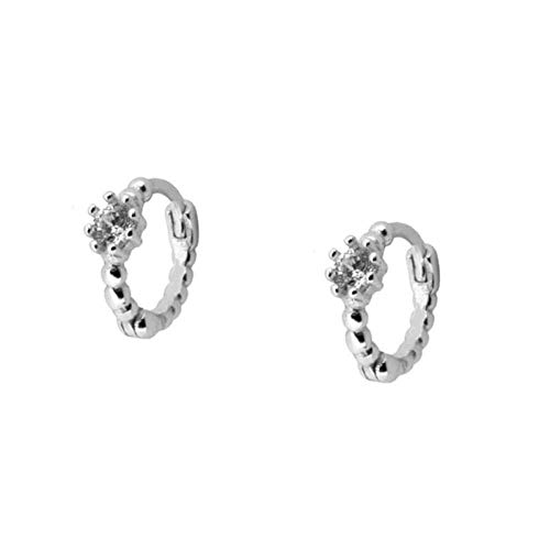 Earrings Women Studs Crystal Hoop Earrings 925 Sterling Silver Circle Earrings Women Gold Color Earings Jewelry Gift -Silver_White