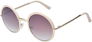 TT WARE Women Ladies Retro Round Lens Uv Protection Sun Glassess Full Frame Eyewear-Beige