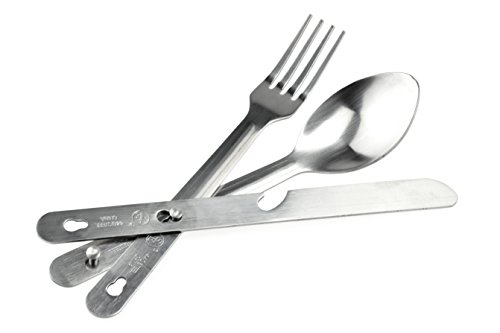 SE Survivor Series 4-IN-1 Stainless Steel Utensil Set (Spoon, Fork, Knife, Bottle Opener) - KC7043FSK