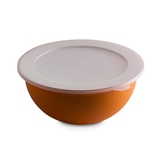 Omada Design Ciotola da 3,5 lt + coperchio, diametro 26 cm, bianca dentro e colorata fuori, in polipropilene e Microban antibatterico