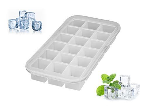 Levivo Silikon Eiswürfelform für 18 Eiswürfel, 27.8 x 14.2 x 3.6 cm, Weiß