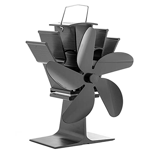 KLOVA SF301G Ventilador de Estufa de Calor de Nuevo diseño Flujo de Aire más Grande Ventilador de Estufa de 5 aspas Dispersa el Aire Caliente a través de la casa Negro