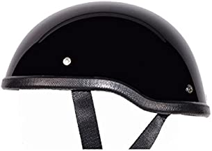 Low Profile Novelty Harley Chopper Motorcycle Half Helmet Skull Cap Shiny Black (Medium 22 1/4