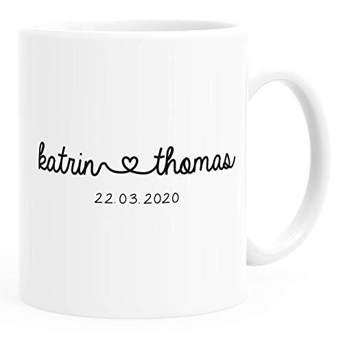 SpecialMe® Kaffee-Tasse personalisiert Geschenk Partner Namen und Datum anpassbar Hochzeitstag Hochzeitsgeschenk Liebe Liebesgeschenk weiß Keramik-Tasse
