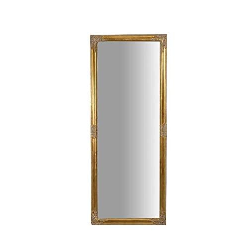Biscottini Specchio Lungo da Parete 180 x 72 x 3 cm Made in Italy | Specchio Shabby | Specchio da Parete Dorato | Specchio Rettangolare da Parete