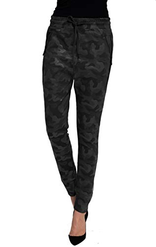 Zhrill Damen Joggpant Stoffhose Anzugshose Tapered Cropped Slim Fit Fabia, Größe:XL, Farbe:W9197 - Black