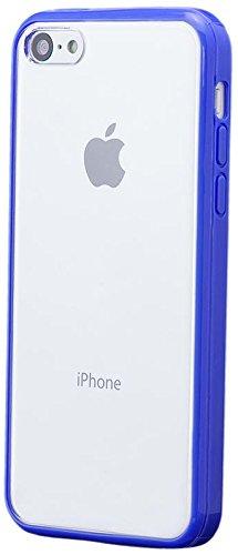 Apple iPhone 5C | iCues parachoques de TPU con el claro de nuevo caso de Azul | Transparente lámina protectora caso de la piel Claro Claro gel de silicona transparente de protección [protector de pantalla, incluyendo] Cubierta Cubierta Funda Carcasa Bolsa Cover Case