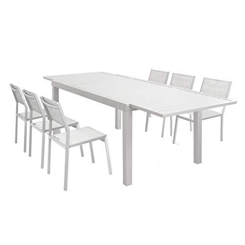 Milani Home s.r.l.s. Set Tavolo Giardino Rettangolare Allungabile 160/240 X 90 con 6 Sedie in Alluminio E Textilene Tortora da Esterno