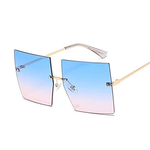HSCDQ Gafas de Sol de Gran tamaño cuadradas Mujeres Vintage Luxuryless Rimless Sun Glasses para Femenino Gradiente Espejo Metal Oculos De Sol exc.tq (Lenses Color : Blue Pink)