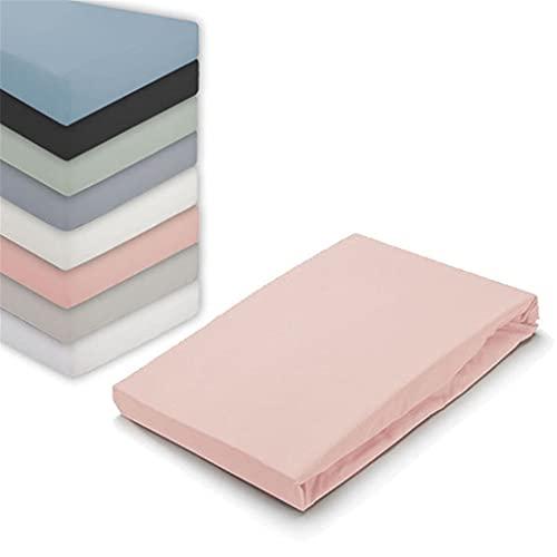Byrklund Spannbettlaken 80x200, 100% Baumwolle Spannbetttuch, Perfekte Matratzenpassform, Weiches Gefühl, Knitter- & Bügelfrei - Altes Rosa