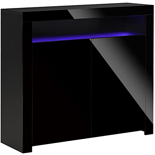 HOMCOM High Gloss LED Cabinet Cupboard Sideboard Console with RGB Lighting for Entryway, Dining Area, Living Room, Black