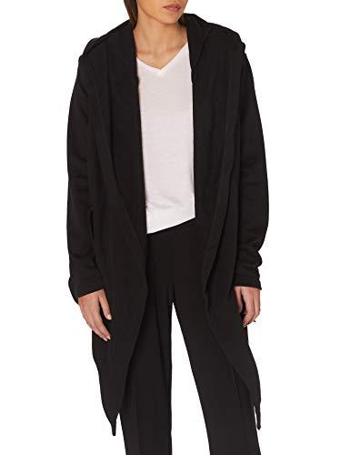 Urban Classics Damen Ladies Hooded Sweat Cardigan Cape, Schwarz (black 7), Small