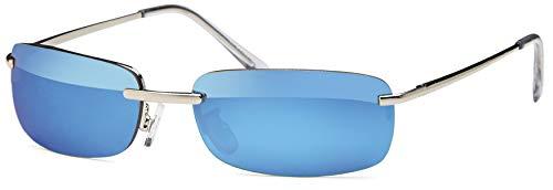 Rechteckige Herren Sonnenbrille mit Federscharnier Sunglasses Sportbrille Matrix Rad Brille Radbrille Sport (Blue)