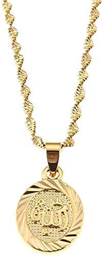 banbeitaotao Collar 24K Color Oro islámico Escritura árabe Alá Collar con Colgante Ovalado joyería islámica