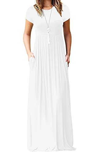 White mamxi dress with short sleeves and pockets